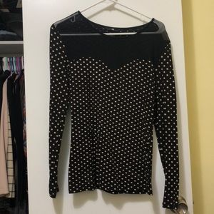 H&M long sleeve with sheer neck line Size S